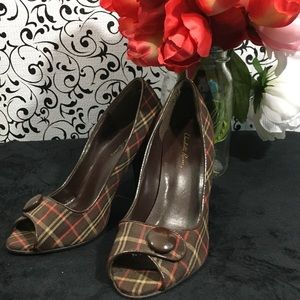 Charlotte Russe Brown Plaid Peep Toe Heels